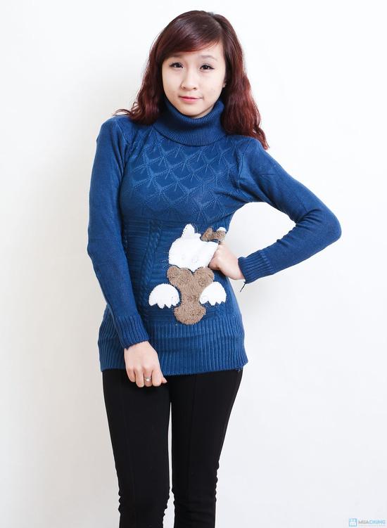 Áo len cổ lọ dáng dài họa tiết mèo - Chỉ với 135.000đ - 5