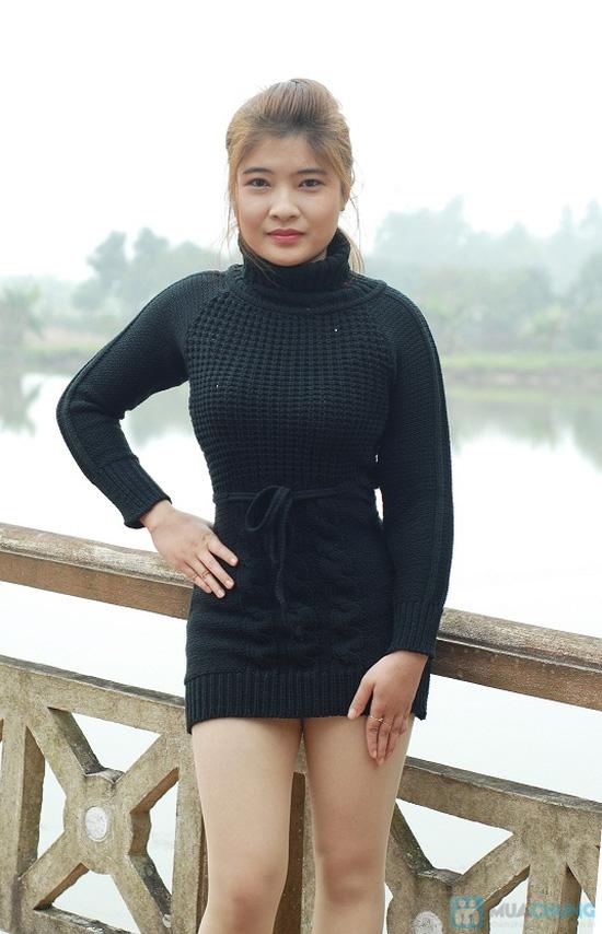 Áo váy len cổ lọ thắt dây eo - 5