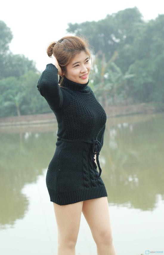 Áo váy len cổ lọ thắt dây eo - 1