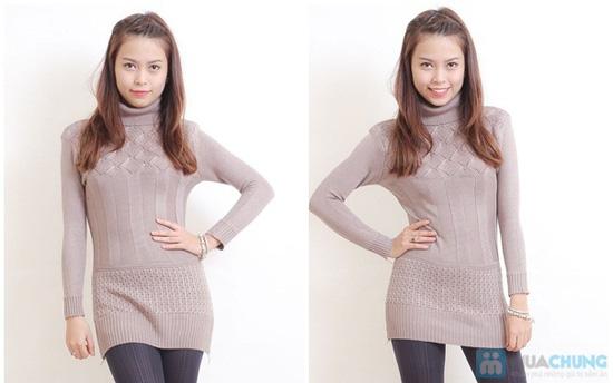 Áo len dáng dài cổ lọ cho nữ - 4