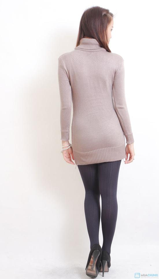 Áo len dáng dài cổ lọ cho nữ - 5