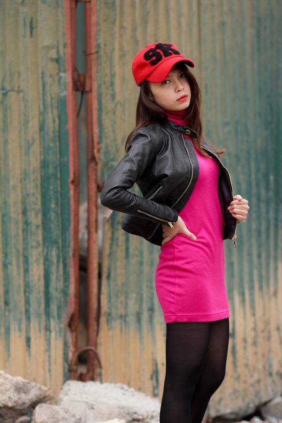 Áo khoác da nữ dáng body ngắn thời trang - 5