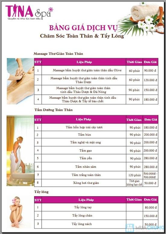 Gói 4 Dịch vụ: Massage body + vai + cổ + đầu tại Saigon Tina Spa - Chỉ 55.000đ - 2