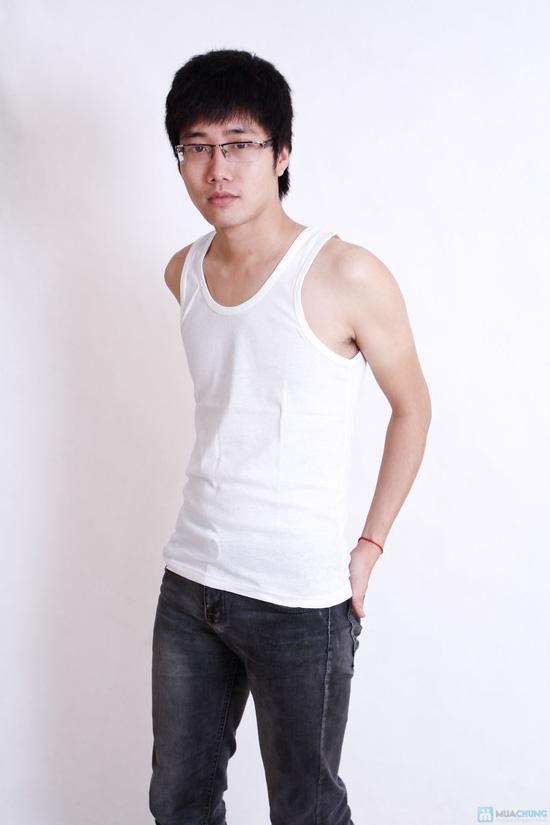Combo 2 áo ba lỗ trắng cotton cho nam - 3