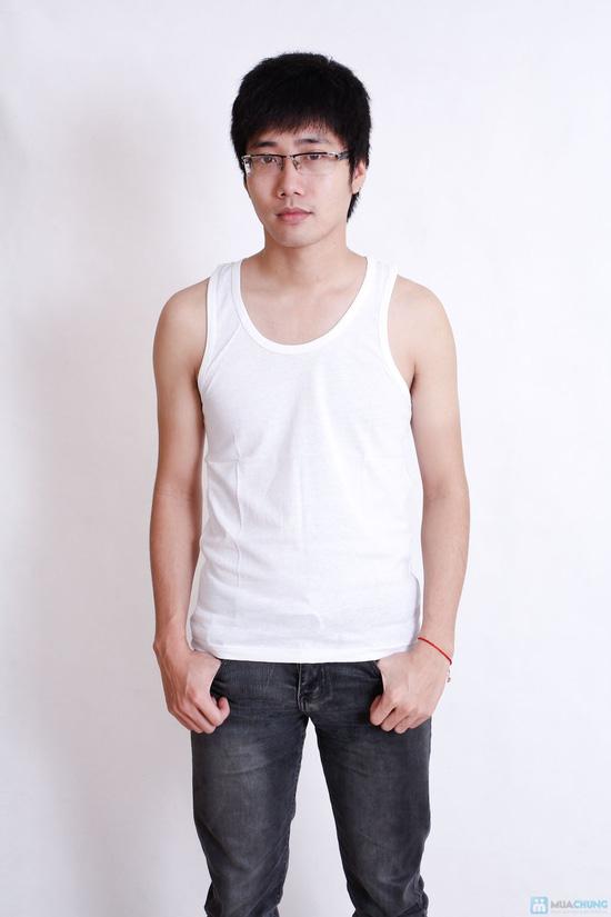 Combo 2 áo ba lỗ trắng cotton cho nam - 2