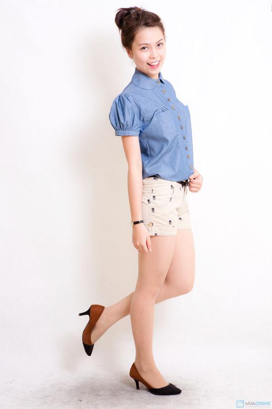 Áo denim tay bồng trẻ trung và phong cách cho bạn gái - 5