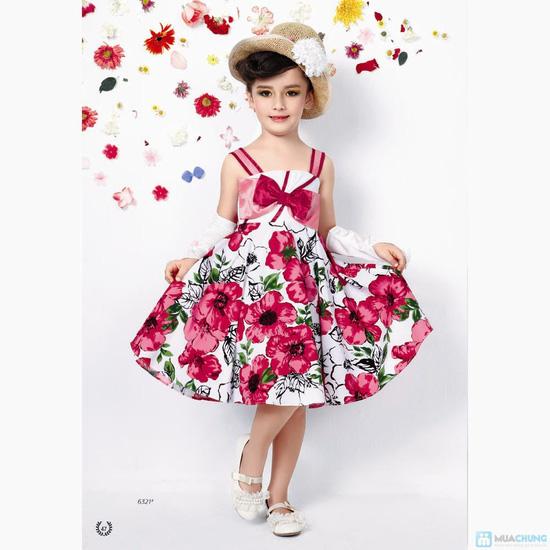 Váy hoa đính nơ cho bé gái - 5