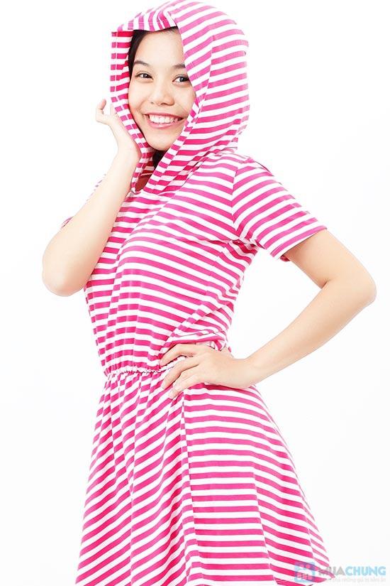 Áo đầm sọc có nón cực xinh - 5