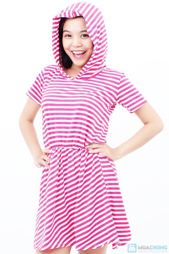 Áo đầm sọc có nón cực xinh - 7