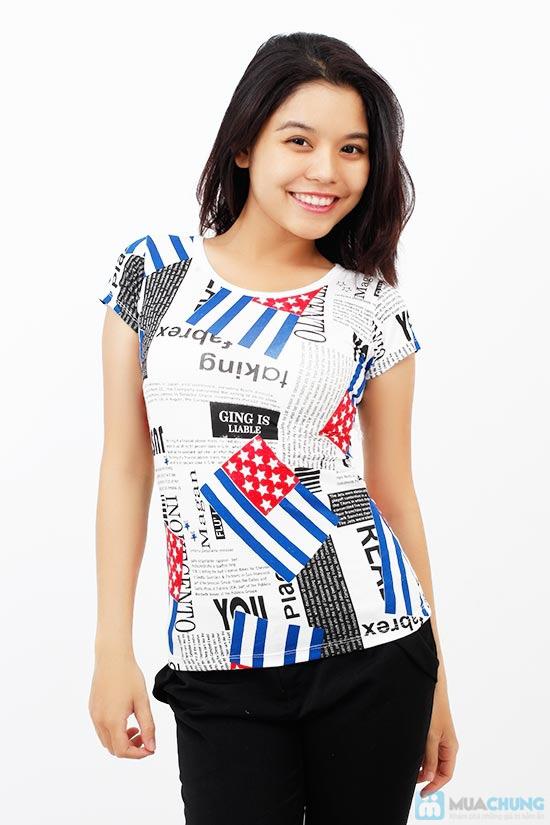 Áo thun nữ họa tiết cờ, phong cách trẻ trung, cá tính - Chỉ 75.000đ / 1 chiếc - 2