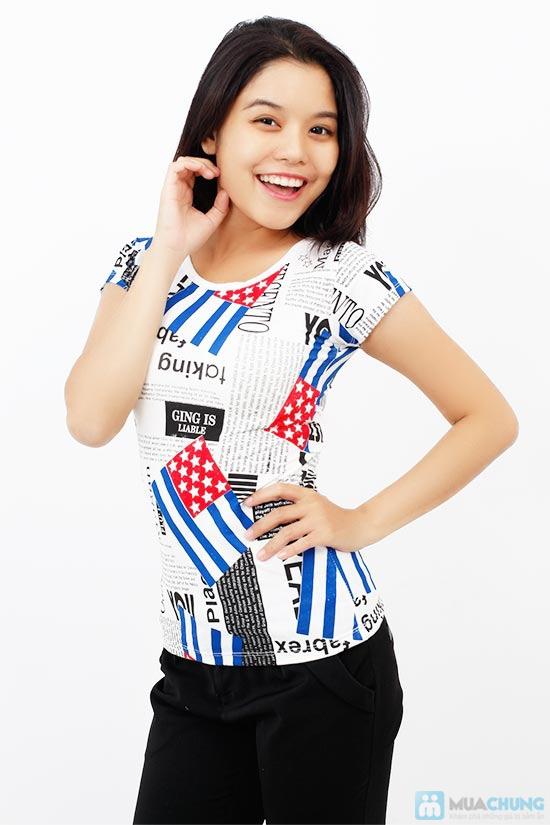 Áo thun nữ họa tiết cờ, phong cách trẻ trung, cá tính - Chỉ 75.000đ / 1 chiếc - 1
