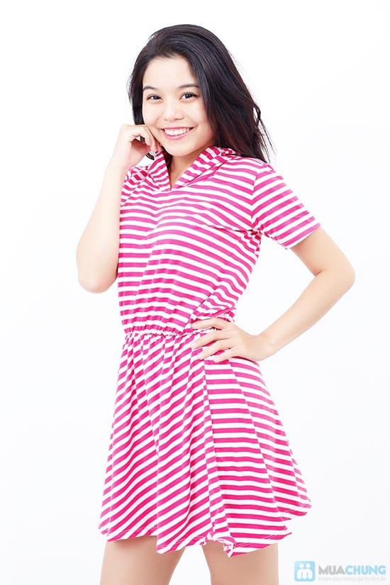 Áo đầm sọc có nón cực xinh - 4