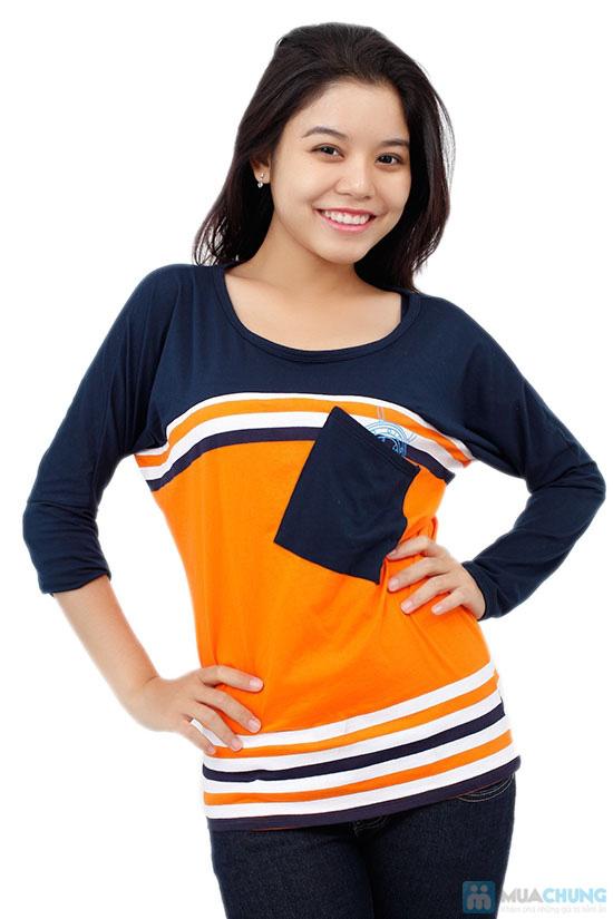 Áo thun thời trang phối sọc kèm túi, kiểu dáng dễ thương, màu sắc trang nhã - Chỉ 99.000đ / 1 chiếc - 4