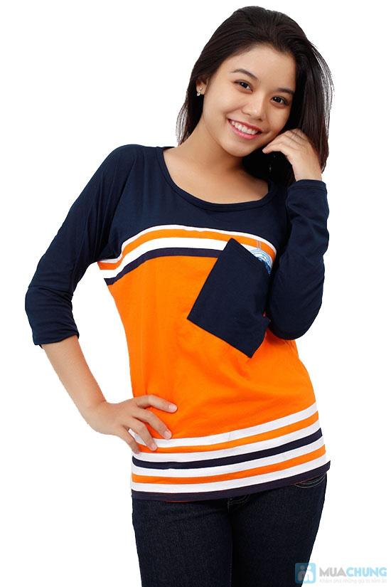 Áo thun thời trang phối sọc kèm túi, kiểu dáng dễ thương, màu sắc trang nhã - Chỉ 99.000đ / 1 chiếc - 2