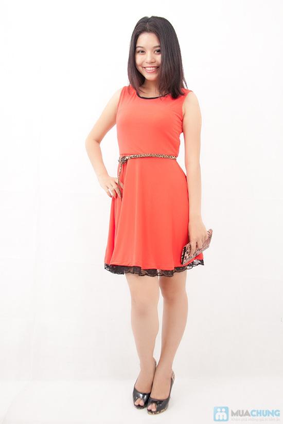 Đầm xòe viền ren chân váy - 3