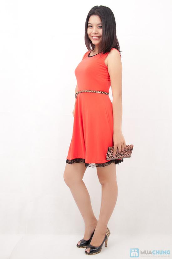 Đầm xòe viền ren chân váy - 5