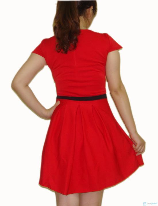 Đầm xòe cổ tròn phối nơ giữa xinh xắn cho bạn gái - 6