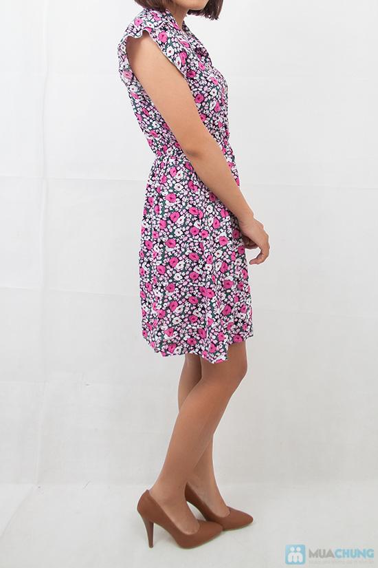 Đầm hoa vải lanh cổ sơ mi - 9
