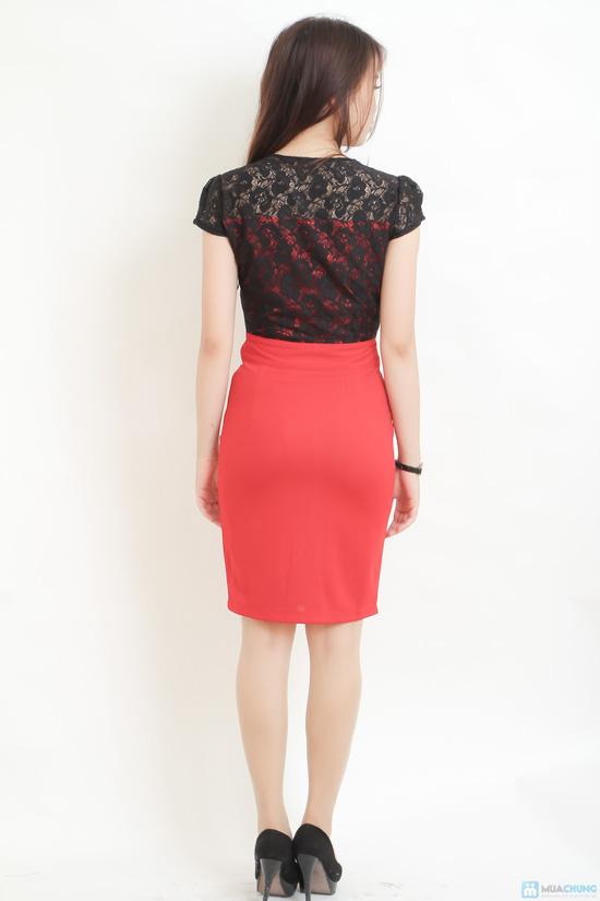 váy công sở phối ren đen đỏ gợi cảm - 4