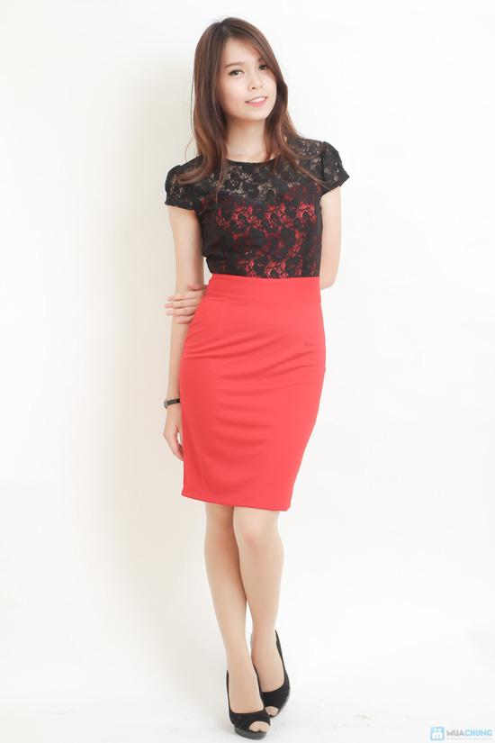 váy công sở phối ren đen đỏ gợi cảm - 2