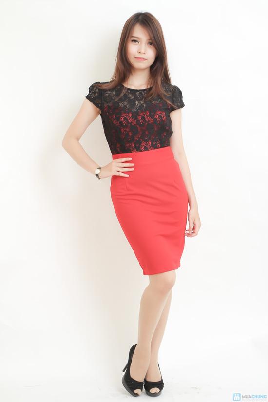 váy công sở phối ren đen đỏ gợi cảm - 1
