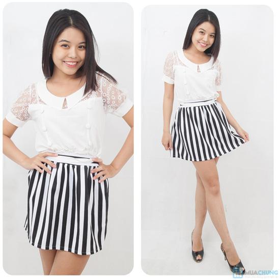 Chân váy xòe sọc trắng - đen trẻ trung, phong cách - Chỉ 80.000đ - 7