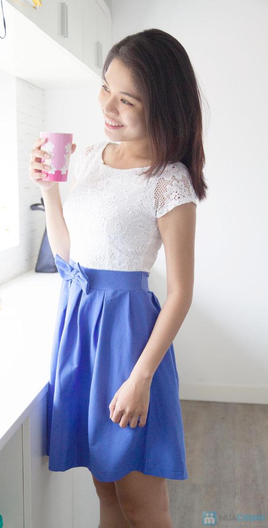 Đầm ren chân váy xòe kết nơ, kiểu dáng thời trang cho bạn gái thêm phần duyên dáng - Chỉ 155.000đ/ 1 chiếc - 1