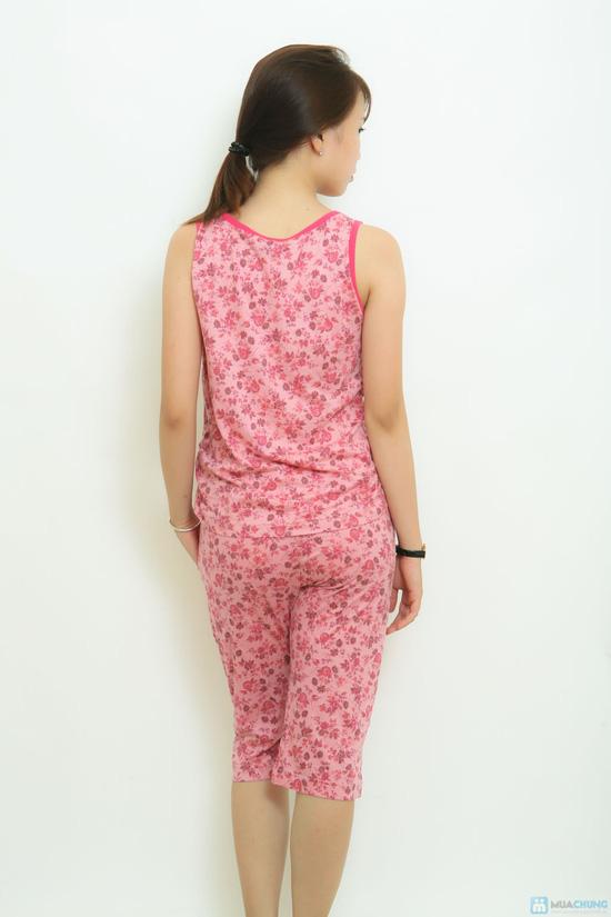Bộ mặc nhà thun cotton ko tay hoa nhí Vintage - 2