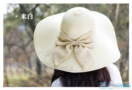 Mũ đi biển đính nơ điệu đà - 10