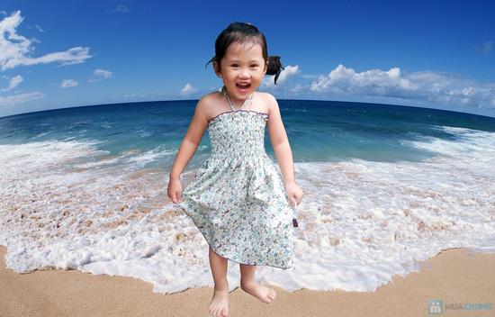 Váy thô hoa nhí đi biển cho bé - 1