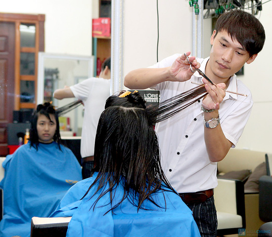 Trọn gói làm tóc kèm hấp tóc tại VS International - 9