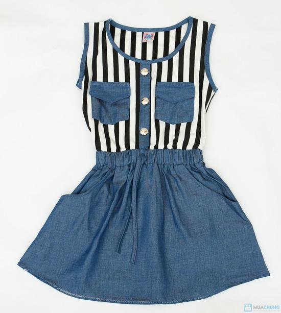 váy thu denim cách điệu cho bé gái - 1