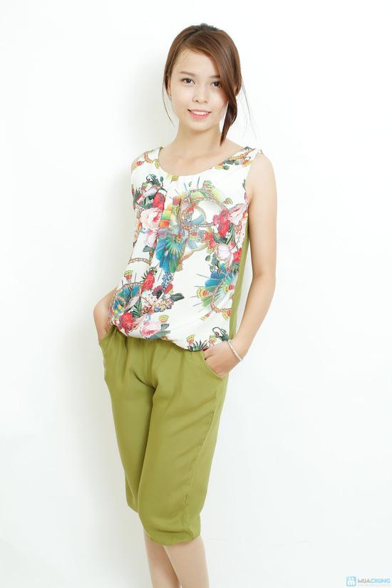 Bộ quần áo lanh 3D sát nách kiểu dáng Alibaba - 4