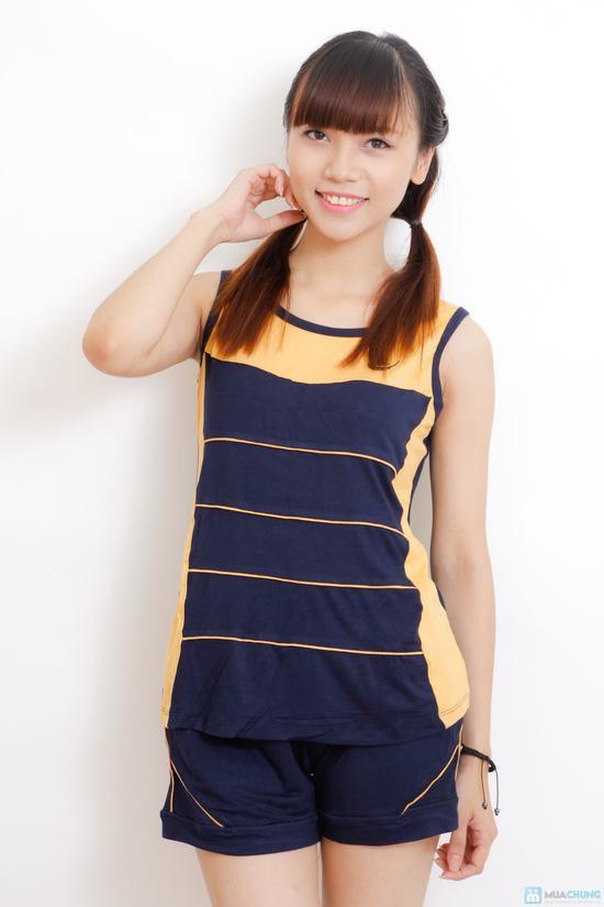 Bộ mặc nhà cotton chun cho nữ - 5