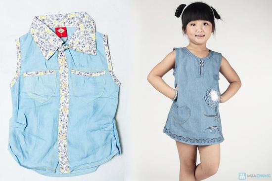 Combo 2 Áo sơ mi giả jeans cho bé gái 1-8 tuổi - 3