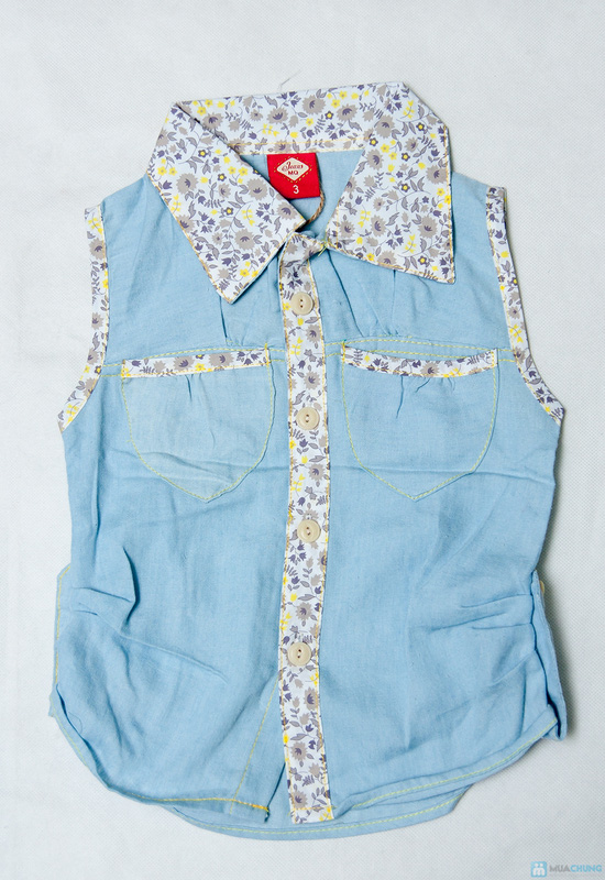 Combo 2 Áo sơ mi giả jeans cho bé gái 1-8 tuổi - 6