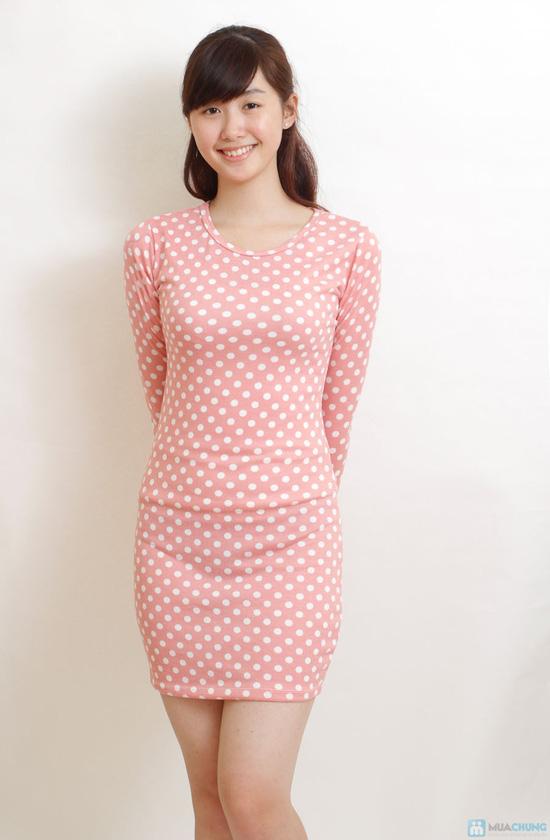 Váy len hồng chấm bi - 3