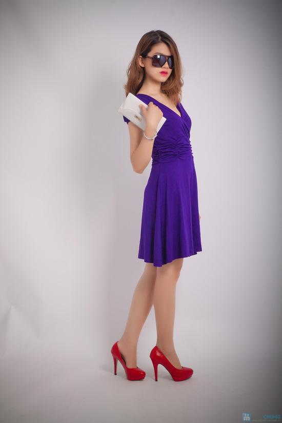 Đầm thun tím nhún eo - 5