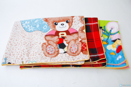bộ vỏ chăn+ 2 gối + 1 ga chun cotton nhung 1m6 x 2m họa tiết hoạt  hình cho các bé - 3