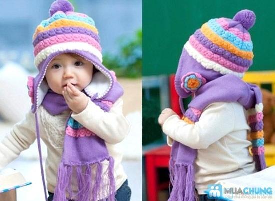 Bộ khăn mũ len kết hoa cho bé gái - 1