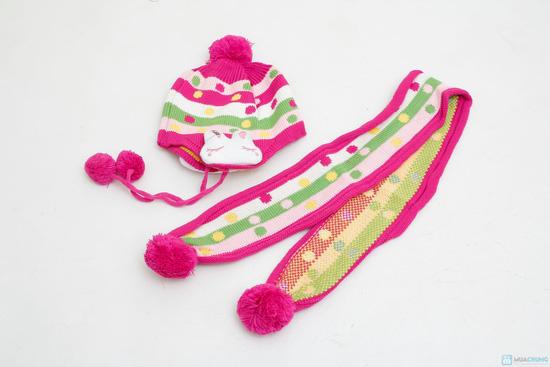 Bộ mũ len tai thỏ kèm khăn cho bé - 1