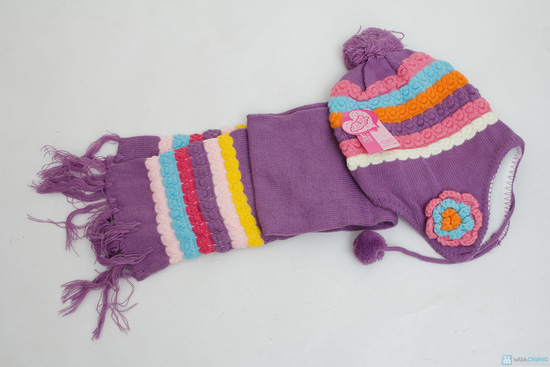 Bộ khăn mũ len kết hoa cho bé gái - 5