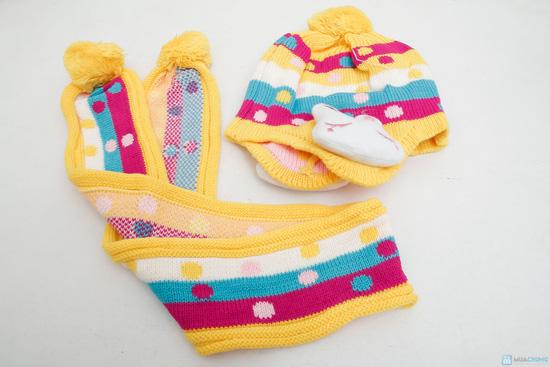 Bộ mũ len tai thỏ kèm khăn cho bé - 6