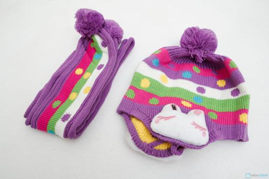Bộ mũ len tai thỏ kèm khăn cho bé - 7