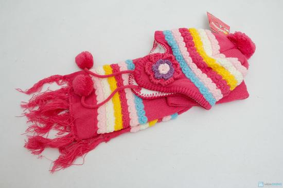 Bộ khăn mũ len kết hoa cho bé gái - 4