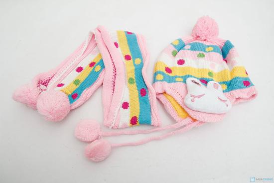 Bộ mũ len tai thỏ kèm khăn cho bé - 5