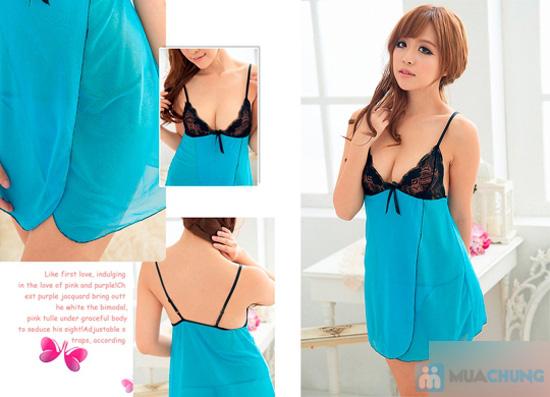 Váy ngủ sexy mẫu màu xanh - 5