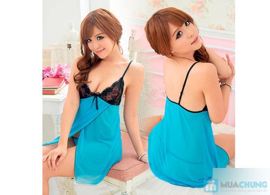 Váy ngủ sexy mẫu màu xanh - 3