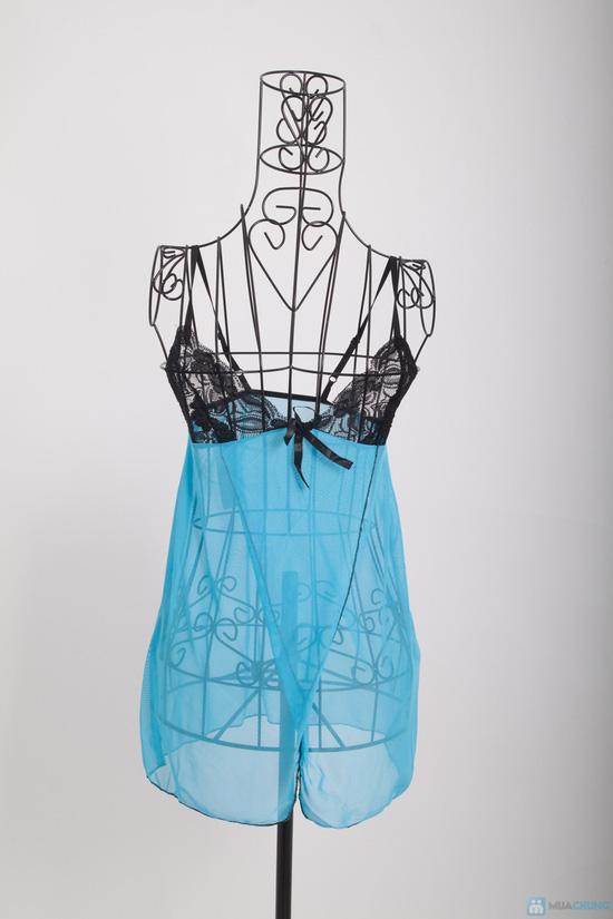 Váy ngủ sexy mẫu màu xanh - 1