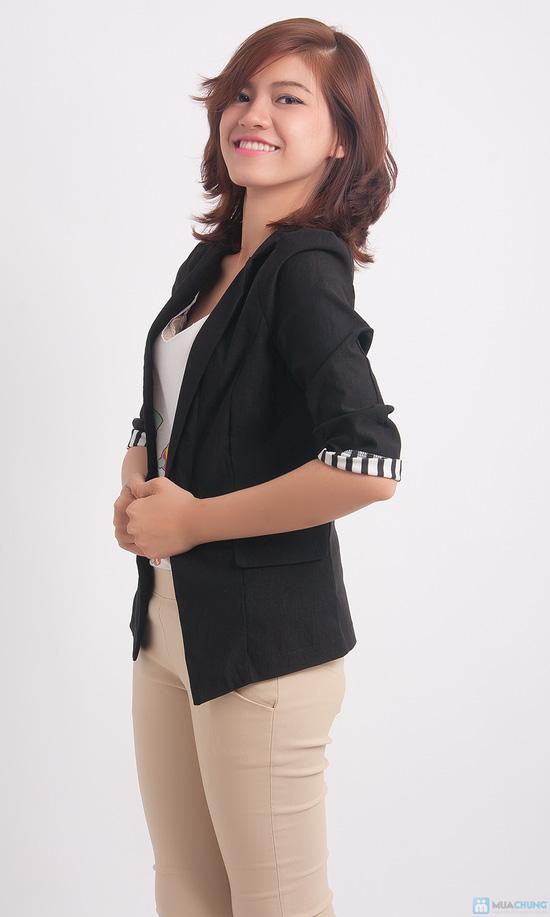 Áo khoác giả vest tay lật đen trắng - 5